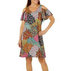 MSK Petite Mixed Floral Cold Shoulder Dress
