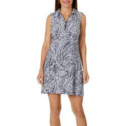 MSK Petite Paisley Print Zip Neck Swing Dress