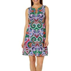 MSK Petite Paisley Print Ring Neck Sleeveless Swing Dress