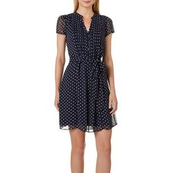 MSK Petite Polka Dot Print Tie Waist Dress