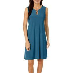 MSK Petite Solid Ring Neck Sleeveless Dress