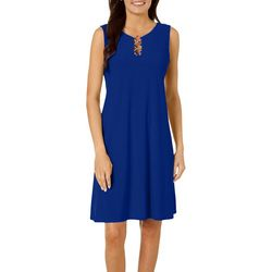 MSK Petite Solid Ring Neck Sleeveless Dress