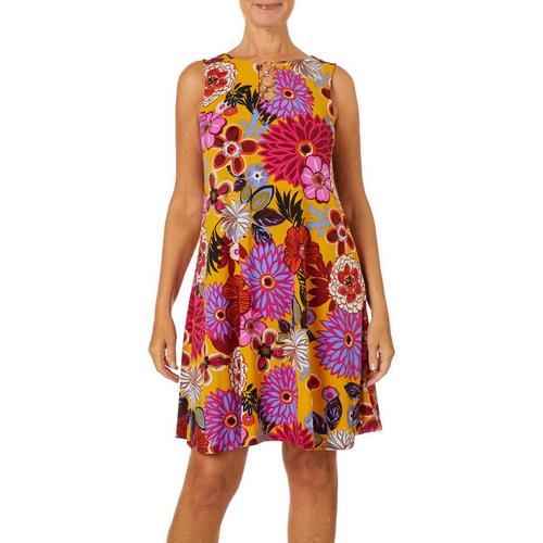 MSK Petite Retro Floral Ring Neck Dress
