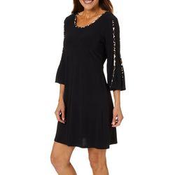 MSK Petite Leopard Print Trim Bell Sleeve Swing Dress
