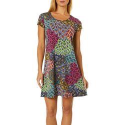 MSK Petite Mixed Floral Puff Print Short Sleeve Dress