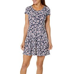 MSK Petite Daisy Floral Puff Print Short Sleeve Dress