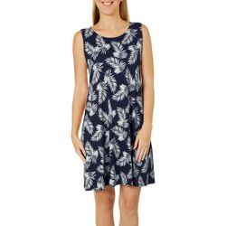 Allison Brittney Petite Tropical Palm Print Sundress