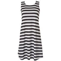 Petite Striped Print Sleeveless Dress
