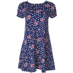 Jamie and Lyla Petite Dotted Floral Print T-Shirt Dress