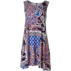 Allison Brittney Petite Paisley Print Yummy Swing Dress
