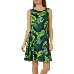 Allison Brittney Petite Leaf Print Yummy Swing Dress