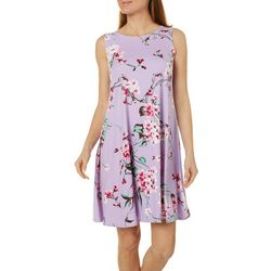 Petite Floral Design Sleeveless Swing Dress