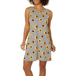 Allison Brittney Petite Striped Sunflower Print Sundress
