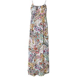 Allison Brittney Petite Palm Leaf Print Tie Back Maxi Dress