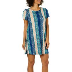 Allison Brittney Petite Medallion Striped T-Shirt Dress