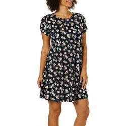 Allison Brittney Petite Floral Print T-Shirt Dress