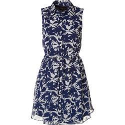 RN Studio Womens Floral Silhouette Button Down Dress