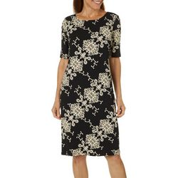 Ronni Nicole Petite Damask Puff Print Shift Dress