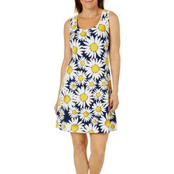 Ronni Nicole Womens Sunflower Print Swing Dress