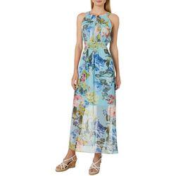 Ronni Nicole Womens Chiffon Floral Halter Dress