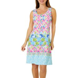 Ronni Nicole Petite Watercolor Tile Print Shift Dress