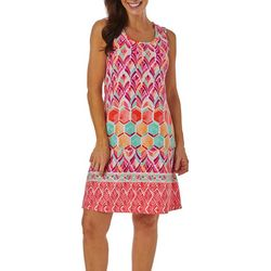Petite Watercolor Tile Print Shift Dress