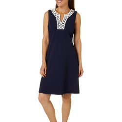 Petite Sleeveless Textured Solid Dress