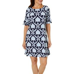 Ronni Nicole Petite Medallion Puff Print Ruffle Sleeve Dress