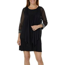 Tiana B Petite Pearl Trim Chiffon Jacket Dress