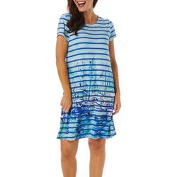 Petite Striped Moody Blues T-Shirt Dress