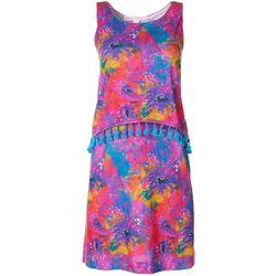 Petite Sleeveless Floral Pop Over Dress