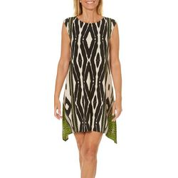 London Times Petite Ikat Animal Print Dress