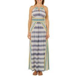 London Times Petite Mixed Ikat Keyhole Maxi Dress