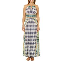 London Times Petite Mixed Ikat Keyhole Maxi Dress