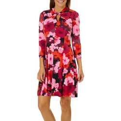 London Times Petite Floral Print Twist Neck Dress