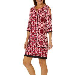 London Times Petite Geometric Split Sleeve Dress