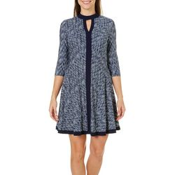 London Times Petite Printed High Neck Keyhole Dress