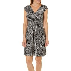 London Times Petite Leaf Print Sheath Dress