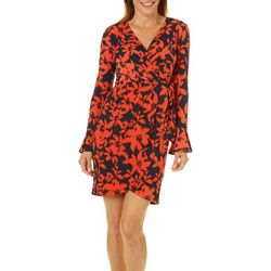 London Times Petite Blooming Floral Faux-Wrap Dress