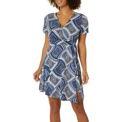 Espresso Petite Geometric Puff Print Faux Wrap Dress