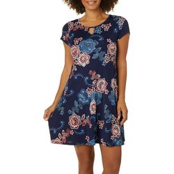 Espresso Petite Floral Scroll Puff Print Keyhole Dress
