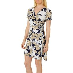 Espresso Petite Sketched Floral Puff Print Faux Wrap Dress