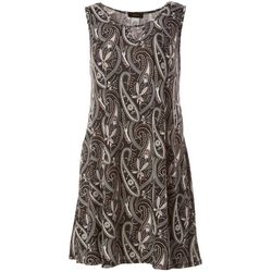 Espresso Petite Sleeveless Paisley Puff Print Dress