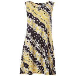 Petite Sleeveless Floral Stripe Puff Print Dress