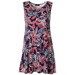 Espresso Petite  Sleeveless Tropical Leaf Puff Print Dress