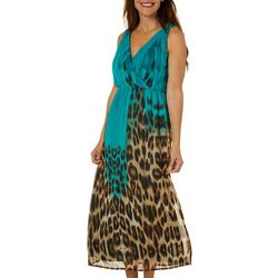 Studio West Petite Leopard Stripe Sleeveless Maxi Dress