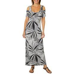 Lexington Avenue Petite Palm Leaf Cold Shoulder Maxi Dress