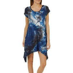 French Atmosphere Petite Textured Tie Dye Handkerchief Dress