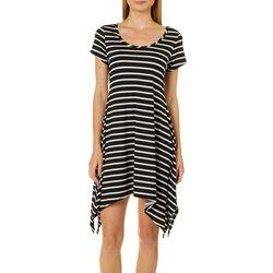 French Atmosphere Petite Striped Handkerchief Hem Dress