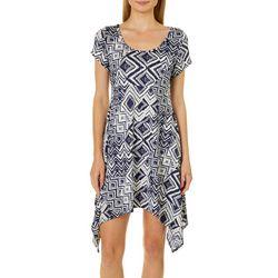 French Atmosphere Petite Geometric Handkerchief Hem Dress